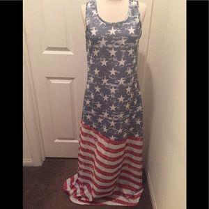 Dresses & Skirts - American Flag Sleeveless Maxi Dress Size Large